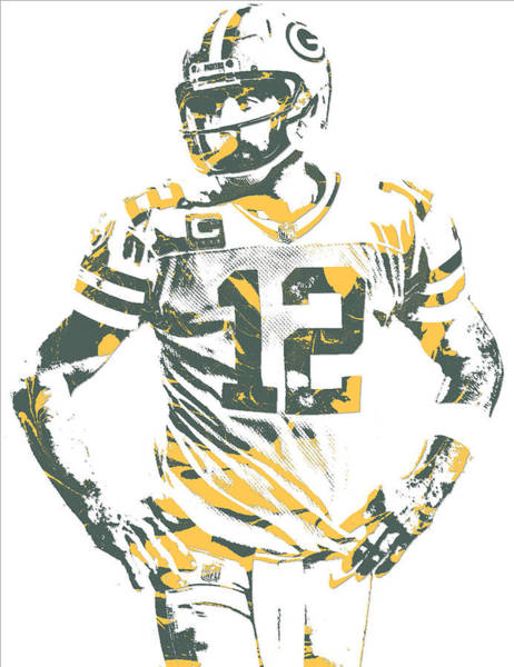 Wall Art - Mixed Media - Aaron Rodgers Green Bay Packers Pixel Art 20 by Joe Hamilton