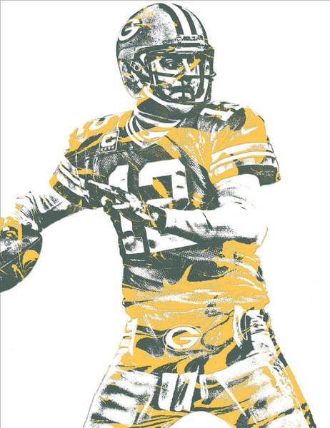 Wall Art - Mixed Media - Aaron Rodgers Green Bay Packers Pixel Art 21 by Joe Hamilton