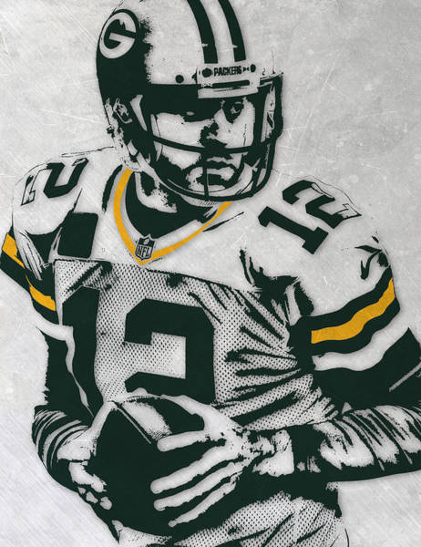 Green Bay Packers Wall Art - Mixed Media - Aaron Rodgers Green Bay Packers Pixel Art 4 by Joe Hamilton