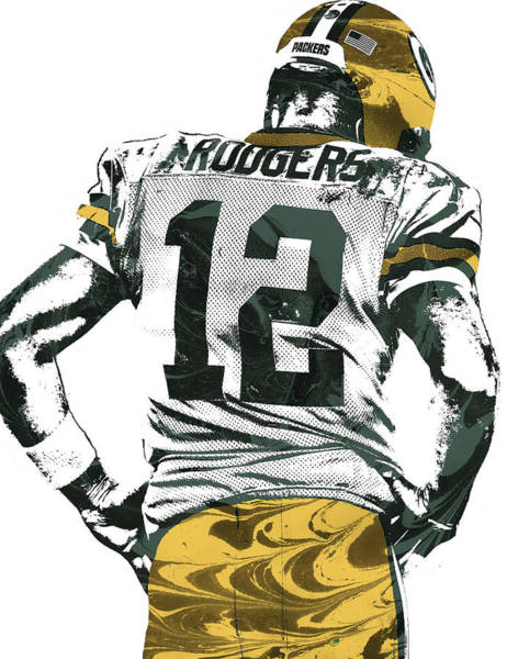 Green Bay Packers Wall Art - Mixed Media - Aaron Rodgers Green Bay Packers Pixel Art 6 by Joe Hamilton