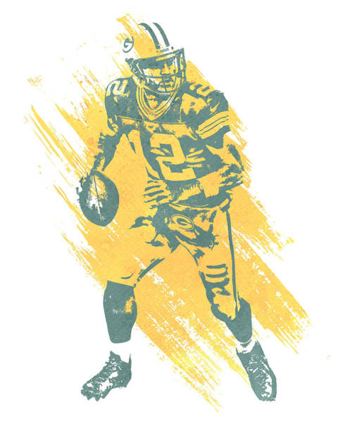 Wall Art - Mixed Media - Aaron Rodgers Green Bay Packers Water Color Art 2 by Joe Hamilton