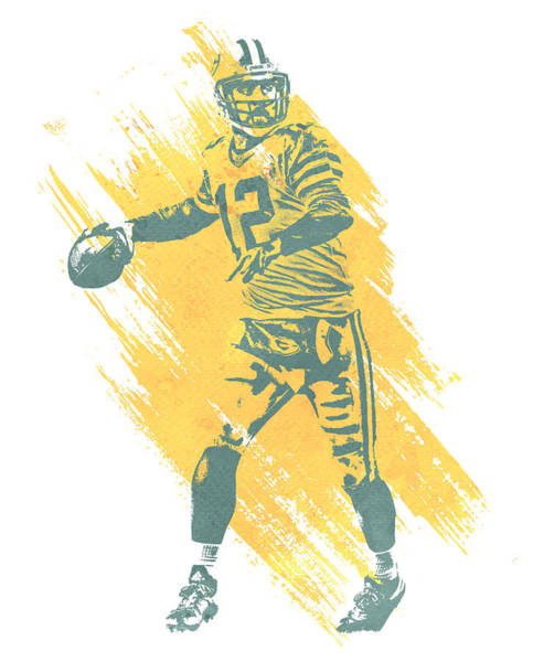 Wall Art - Mixed Media - Aaron Rodgers Green Bay Packers Water Color Art 3 by Joe Hamilton