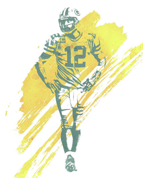 Wall Art - Mixed Media - Aaron Rodgers Green Bay Packers Water Color Art 4 by Joe Hamilton