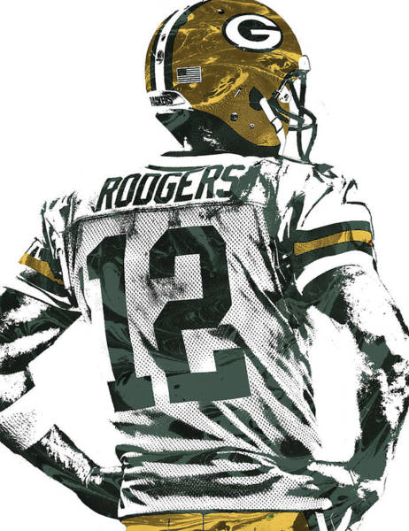 Green Bay Packers Wall Art - Mixed Media - Aaron Rodgers Green Bay Packers Pixel Art 5 by Joe Hamilton