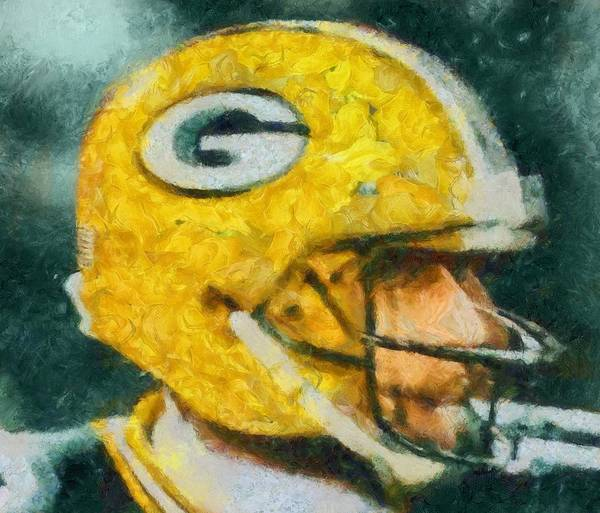 Aaron Rodgers Wall Art - Painting - Aaron Rodgers Helmet Abstract by Dan Sproul
