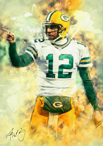 Green Bay Packers Wall Art - Painting - Aaron Rodgers by Zapista Zapista