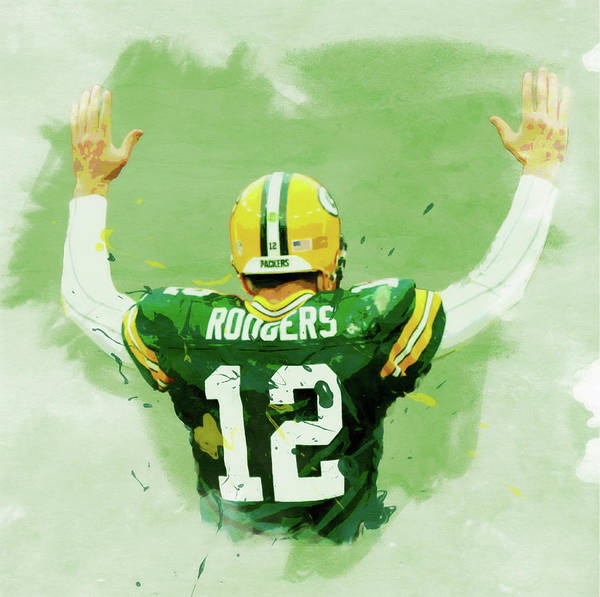 Aaron Rodgers Wall Art - Painting - Aaron Rodgers Watercolor by Dan Sproul