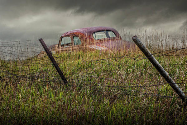 Photograph - Abandoned Auto Along A Wire Fence by Randall Nyhof