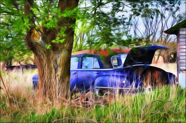 Photograph - Abandoned Blue Car by Anna Louise