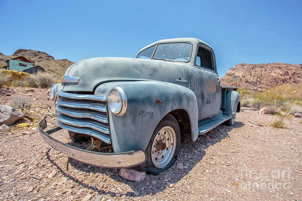 Wall Art - Photograph - Abandoned Blue Chevy Pickup Truck In The Desert by Edward Fielding
