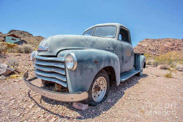 Eldorado Photograph - Abandoned Blue Chevy Pickup Truck In The Desert by Edward Fielding