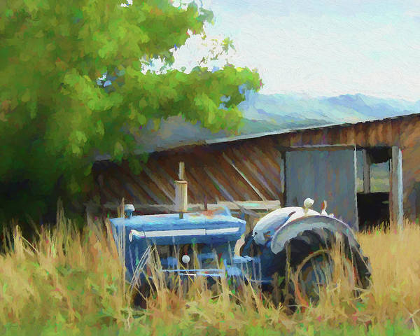 Digital Art - Abandoned Blue Tractor by David King