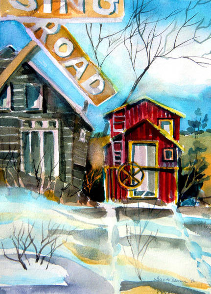 Red Caboose Painting - Abandoned Caboose by Mindy Newman