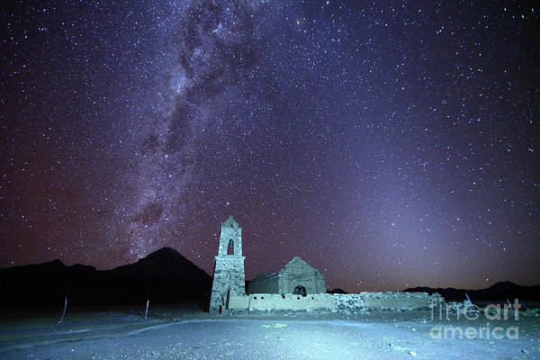 Photograph - Abandoned Church Milky Way And Zodiacal Light Bolivia by James Brunker