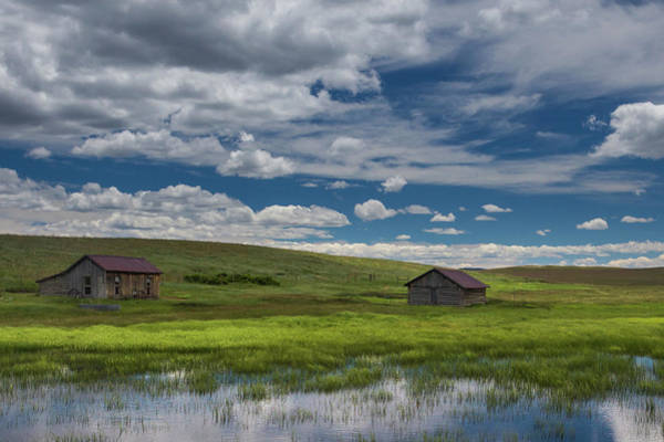 Wall Art - Photograph - Abandoned Colorado Homestead With Reflecting Pond And Blue Sky W by Bridget Calip