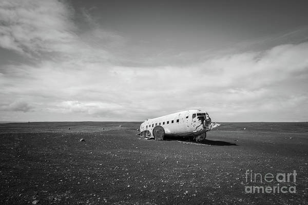 Wall Art - Photograph - Abandoned Dc 3 Plane In Iceland Bw by Michael Ver Sprill