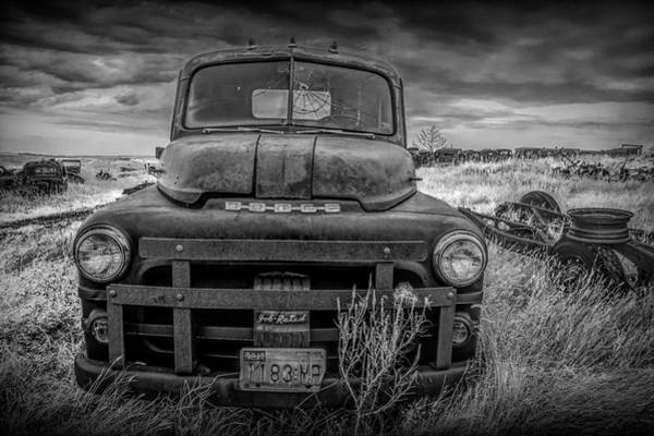 Photograph - Abandoned Dodge Truck In Black And White by Randall Nyhof
