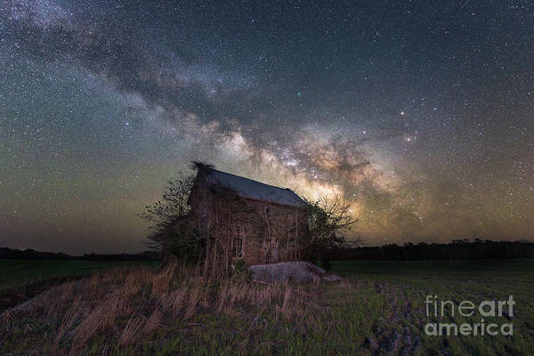 Photograph - Abandoned Farm House Under The Stars by Michael Ver Sprill