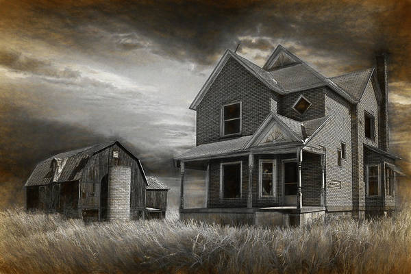 Photograph - Abandoned Farm In Black And White by Randall Nyhof