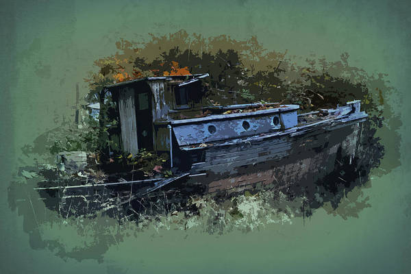Digital Art - Abandoned Fishing Boat by Richard Farrington