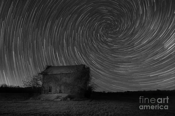 Photograph - Abandoned House Spiral Star Trail Bw  by Michael Ver Sprill
