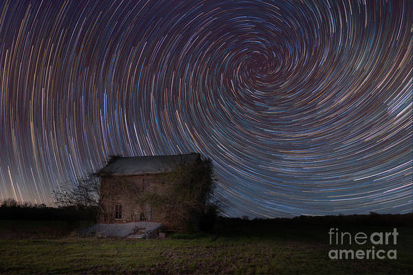 Photograph - Abandoned House Spiral Star Trail  by Michael Ver Sprill