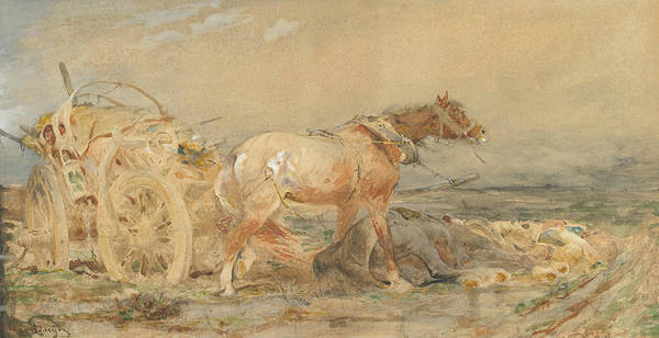 Wetland Drawing - Abandoned - Marshes Of The Danube by Adolf Schreyer