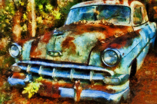 Photograph - Abandoned Old Car In Woods by Anna Louise