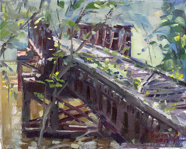 Trains Painting - Abandoned Railroad Bridge In Tonawanda by Ylli Haruni