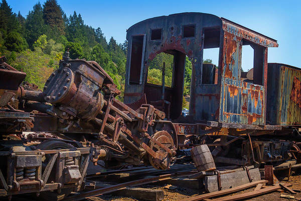 Yard Photograph - Abandoned Train Engine by Garry Gay
