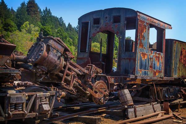Bone Yard Wall Art - Photograph - Abandoned Train Engine by Garry Gay