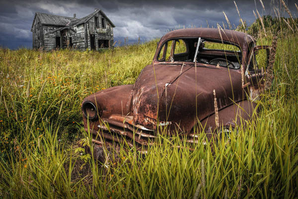 Photograph - Abandoned Vintage Car And Farm Homestead by Randall Nyhof