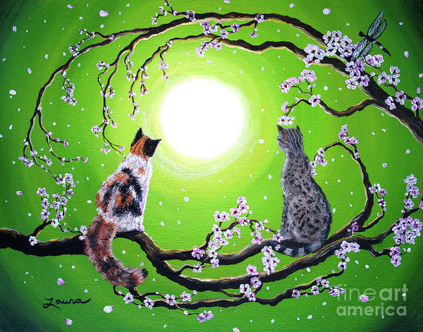 Cherry Tree Painting - Abby And Caesar In The Spring by Laura Iverson