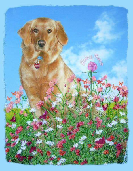 Golden Retriever Mixed Media - Abby Rose Meadow by Diana Maus
