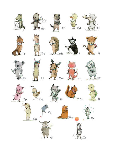 Collectible Art Drawing - Abc Animals by Paola Zakimi