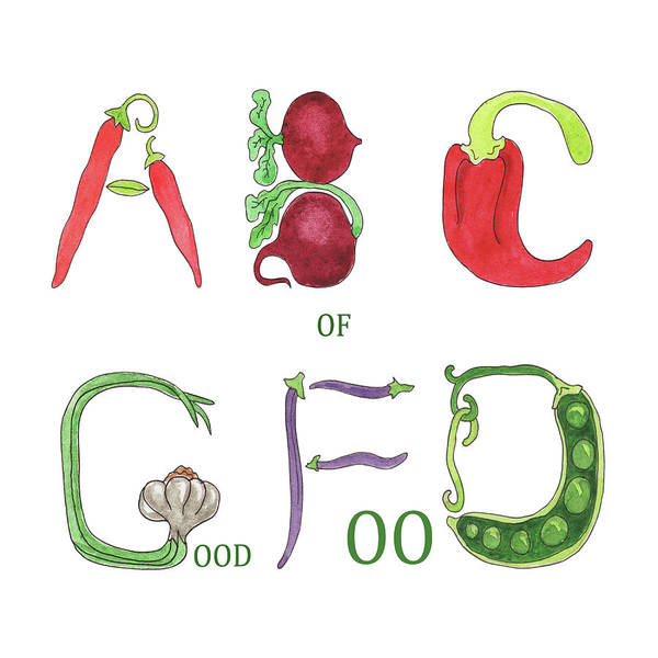Veggies Painting - Abc Of Good Food by Irina Sztukowski