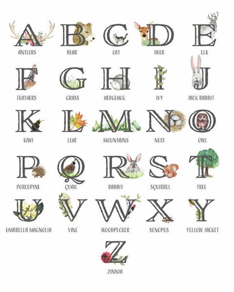 Antlers Digital Art - Abc Woodland Alphabet Sampler by Pink Forest Cafe