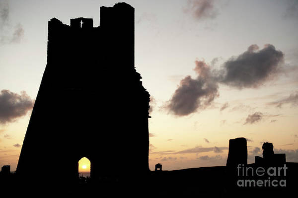 Aberystwyth Castle Tower Ruins At Sunset, Wales Uk Art Print