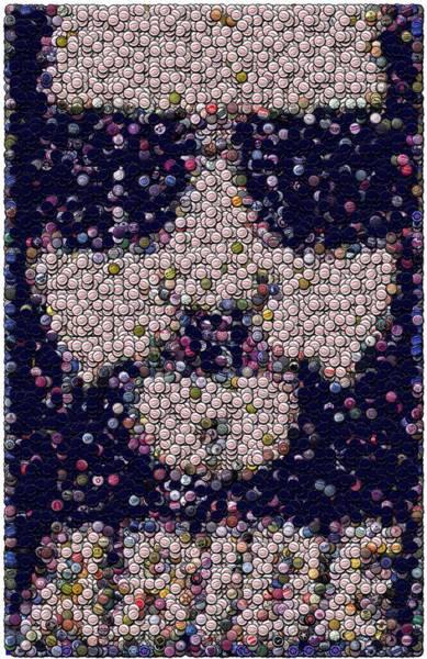 The Dude Wall Art - Mixed Media - Abide Bottle Cap Mosaic by Paul Van Scott