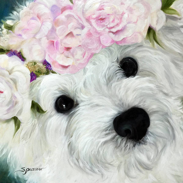 Maltipoo Wall Art - Painting - Abigail's Flowers by Mary Sparrow