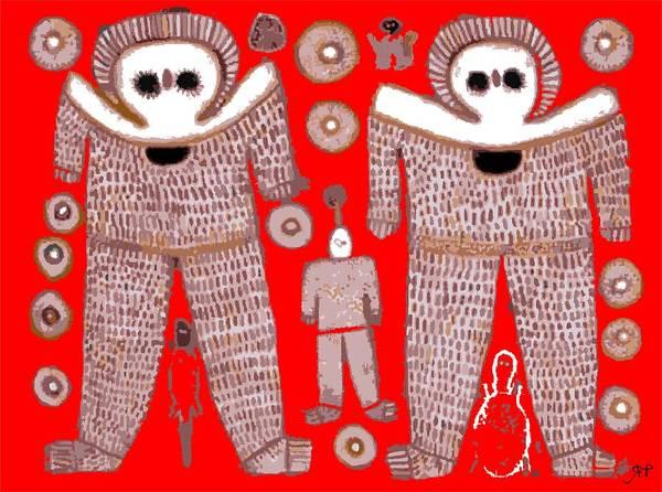 Ufo Digital Art - Aboriginal Astronauts by Raphael Terra