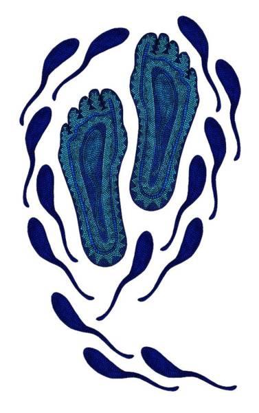 Digital Art - Aboriginal Footprints In Blue Transparent Background by Barbara St Jean
