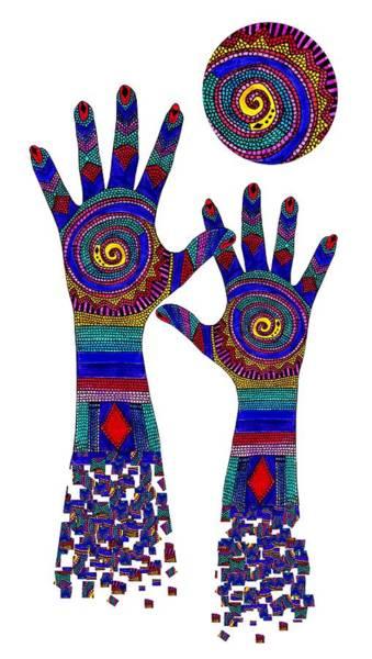 Digital Art - Aboriginal Hands Blue Transparent Background by Barbara St Jean