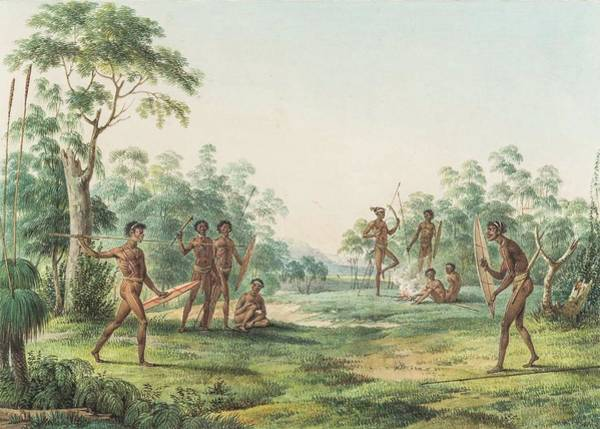 Aborigine Painting - Aborigines In Landscape by MotionAge Designs