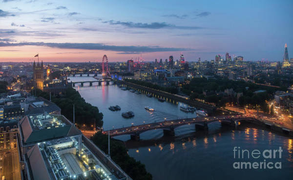 Westminster Bridge Photograph - Above London Along The Thames At Dusk by Mike Reid
