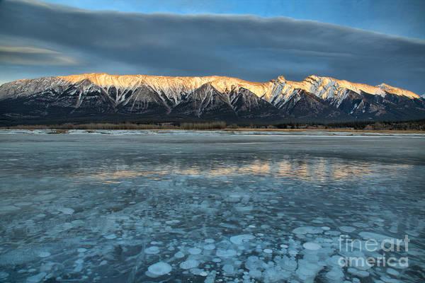 Photograph - Abraham Lake Ice Bubble Sunset by Adam Jewell