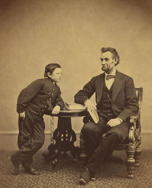 Abe Photograph - Abraham Lincoln And His Son Thomas by Alexander Gardner