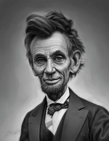 Us Civil War Digital Art - Abraham Lincoln Caricature Portrait by Steven Tetlow