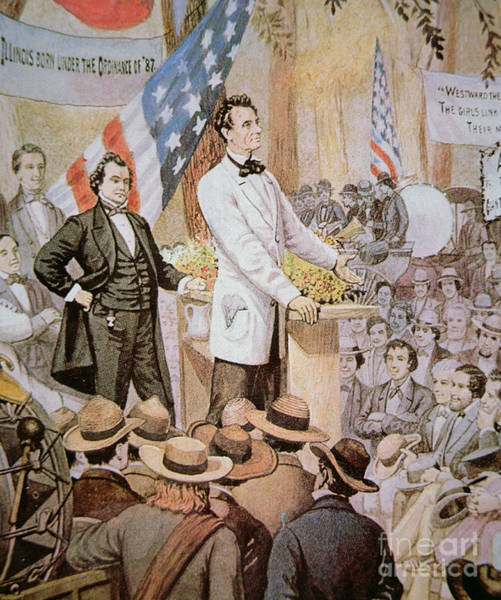Campaign Painting - Abraham Lincoln In Public Debate With Stephen A Douglas In Illinois, 1858  by American School