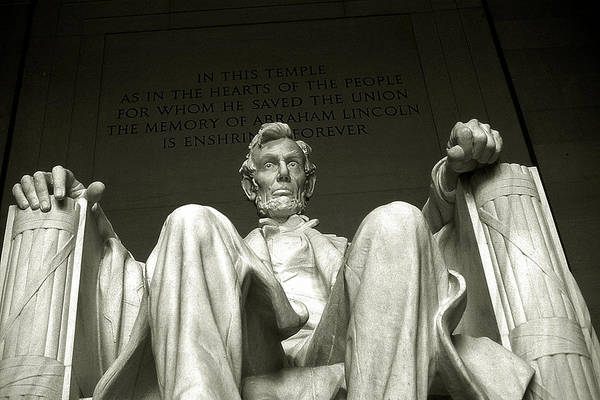 Photograph - Abraham Lincoln Memorial Washington - Black And White by Peter Potter
